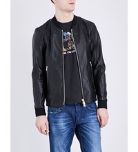 Replay Contrast Trim Leather Bomber Jacket Black
