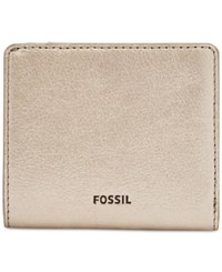 Fossil Emma Rfid Leather Bifold Mini Wallet Taupe Metallic