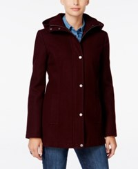 Tommy Hilfiger Hooded Peacoat Only At Macy's Aubergine