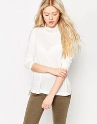 Brave Soul Long Sleeve High Neck Top Offwhite