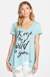 Living Doll 'Wild In You' Asymmetrical Graphic Tee Juniors Teal