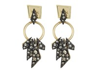 Alexis Bittar Two Tone Crystal Encrusted Dangling Origami Post Earrings Ruthenium 10K Gold Earring Silver