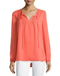 Neiman Marcus Sheer Pintucked Peasant Sleeve Blouse Blood Orange