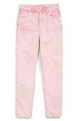 Women's Topshop Pink Acid Wash High Rise Jeans