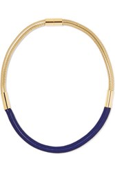 Isabel Marant Oldbrish Gold Tone Braided Necklace Navy