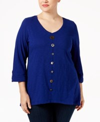 Jm Collection Plus Size Button Front Top Only At Macy's Bright Sapphire