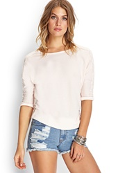 Forever 21 Lace Applique Dolman Top Cream