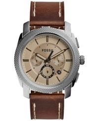 Fossil Men's Chronograph Machine Brown Leather Strap Watch 45Mm Fs5215 Leather Band Cigar Color Dial