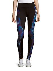 Andrew Marc New York Paneled Performance Leggings Black Multicolor