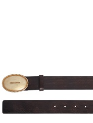 Dsquared 35Mm Vintage Effect Leather Belt Dark Brown
