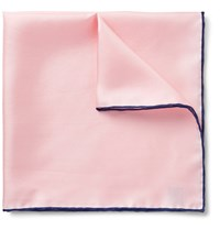 Emma Willis Contrast Tipped Silk Twill Pocket Square Pastel Pink