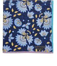 Penrose London Floral Crossbill Pocket Square Blue
