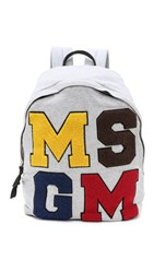 Msgm Logo Backpack White Multi