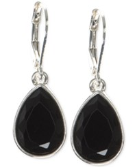 Nine West Faceted Stone Teardrop Drop Earrings Black