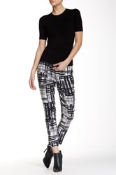 Level 99 Lily Cropped Printed Linen Blend Trouser Black