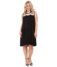 Karen Kane Plus Size Lace Yoke Trapeze Dress Black Cream Women's Dress