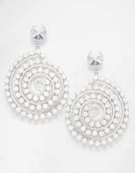 Krystal Swarovski Crystal Statement Spiral Drop Earrings White