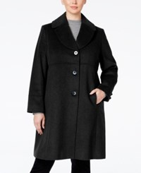 Jones New York Plus Size Empire Waist Wool Blend Walker Coat Black