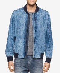 Calvin Klein Jeans Men's Wave Wash Denim Bomber Jacket Light Indigo