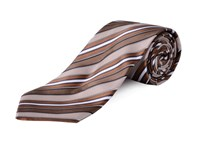 Double Two Extra Long Stripe Tie Brown