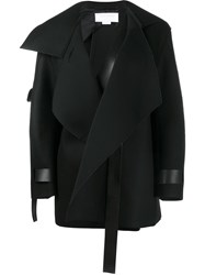 Esteban Cortazar Leather Strap Wrap Coat Black
