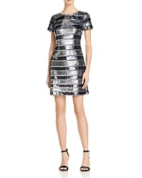 Aidan Mattox Short Sleeve Beaded Cocktail Dress Gunmetal