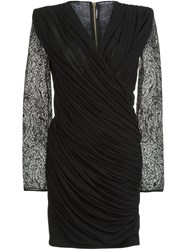 Balmain Paisley Lace Fitted Dress Black