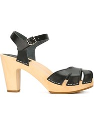 Swedish Hasbeens 'Suzanne' Sandals Black