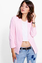 Boohoo Lined Scuba Collarless Blazer Blush