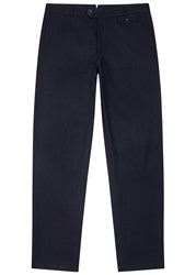 Oliver Spencer Fishtail Navy Cotton Blend Trousers