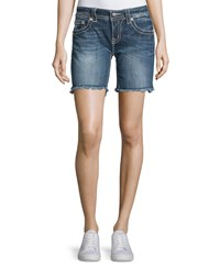 Miss Me Mid Rise Frayed Denim Shorts Mk 419