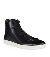 Tom Ford Leather High Top Sneakers Male Black