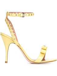 Red Valentino Eyelet Bow Sandals Yellow And Orange