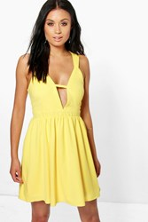 Boohoo Strappy Detail Skater Dress Yellow