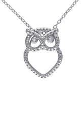 Sterling Silver Pave Diamond Owl Pendant Necklace 0.03 Ctw Metallic