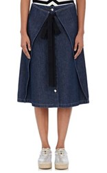 Maison Martin Margiela Mm6 Women's Cotton Denim Knee Length Skirt Navy