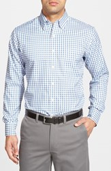 Men's Peter Millar 'Nanoluxe' Regular Fit Wrinkle Free Tattersall Twill Sport Shirt Royal