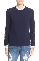 The Kooples Women's Lace Inset Wool And Cashmere Sweater Navy