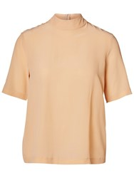 Selected Femme Milly Silk Top Dusty Coral
