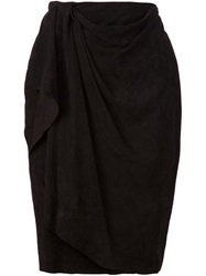 Baja East Draped Detail Wrap Skirt Black