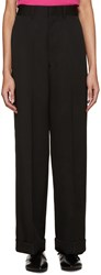 Junya Watanabe Black Wide Leg Wool Trousers