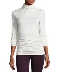 Max Studio Ruched Seam Jersey Top Ivory