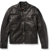Jean Shop Full Grain Leather Biker Jacket Black