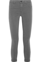 J Brand Anja Cropped Stretch Sateen Skinny Pants Dark Gray