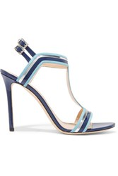 Emilio Pucci Striped Patent Leather And Suede Pumps Blue