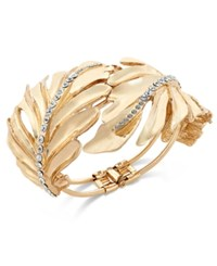 Thalia Sodi Gold Tone Crystal Leaf Hinge Bracelet Only At Macy's