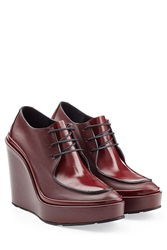Jil Sander Leather Lace Up Wedges Red