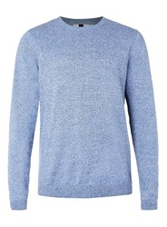 Topman Blue And White Twist Crew Neck Jumper