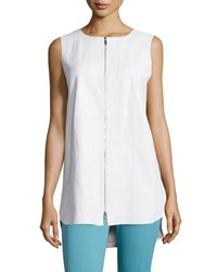 Lafayette 148 New York Athena Two Zip Leather Vest Women's White