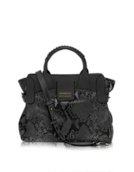 Francesco Biasia Camden Onyx Embossed Leather Handbag Black